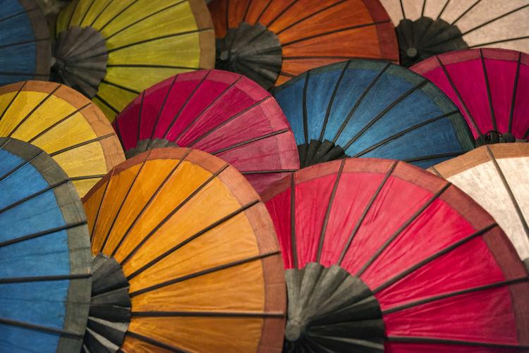 Full frame shot of colorful paper umbrellas