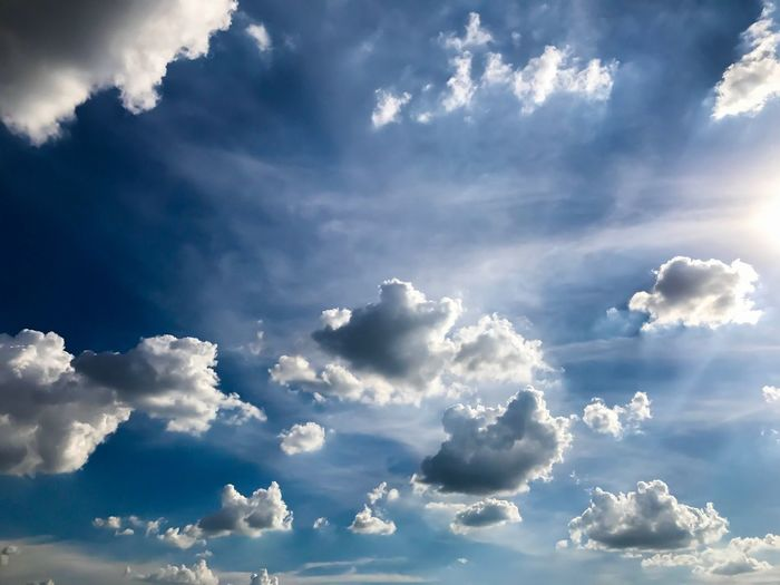 Blue sky background with clouds Cloud - Sky Sky Nature Beauty In Nature Cloudscape Sky Only Backgrounds Day Outdoors Blue Cloudy Clouds Nature