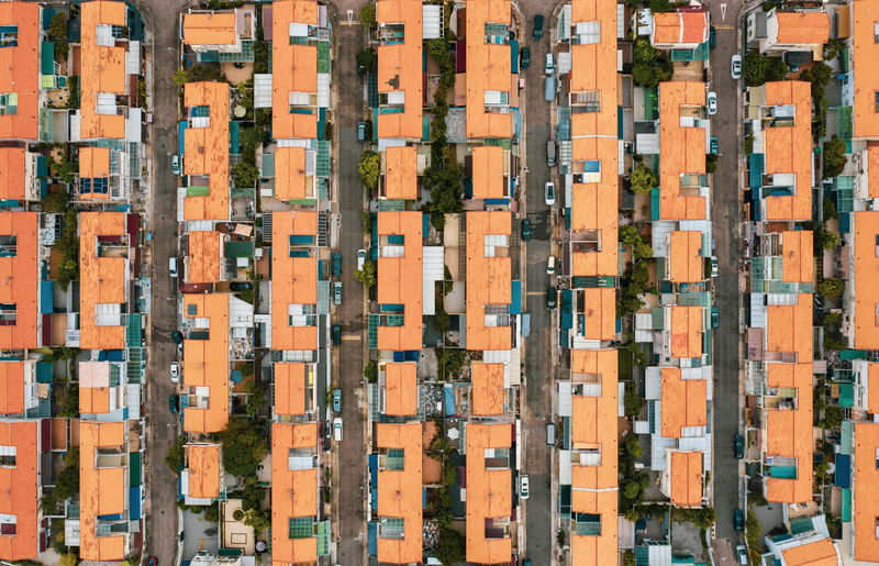 Full Frame Architecture Backgrounds Building Exterior Built Structure Aerial View Building Pattern No People City Roof Outdoors Orange Color Day Residential District In A Row Nature Repetition Industry House Apartment Road City Cityscape Town
