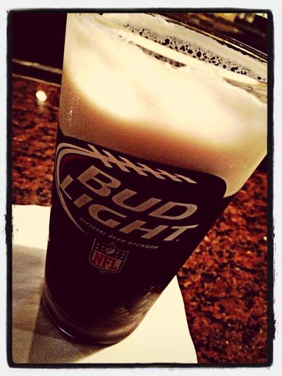Guinness out of a bud light glass - classic! Haha
