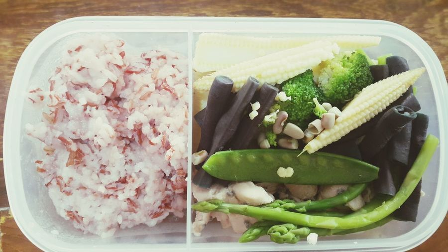 lunch box Brown Rice Brccoli Mix Vagetable Long Bean Baby Corn Yummy Asparagus EyeEm Selects Plate Vegetable High Angle View SLICE Close-up Food And Drink Served