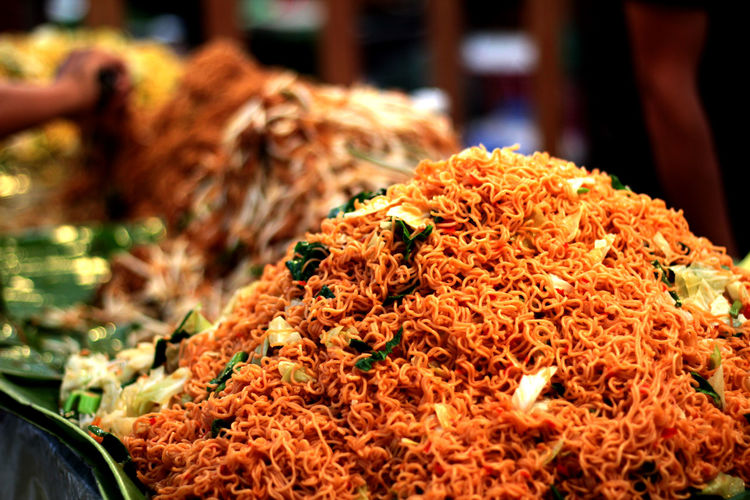Close-up of noodles at market