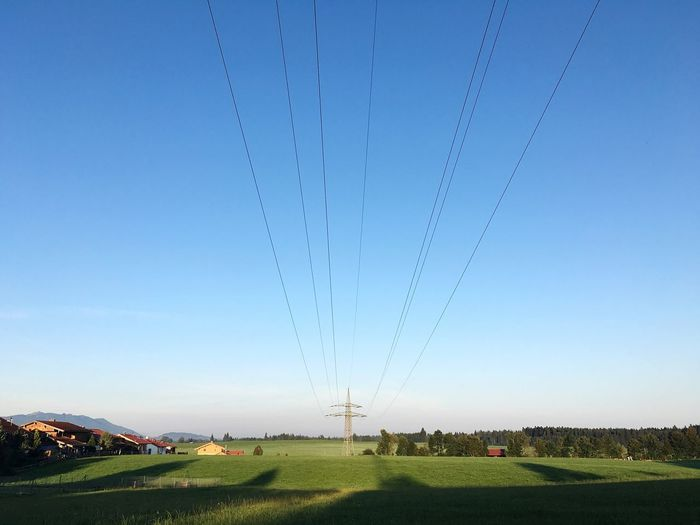 Rural Scene Rural Village Bavarian Village Electricity  Power Line  Blue Clear Sky Landscape Power Supply Connection Electricity