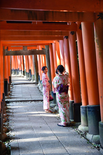 Fushimi Inari Taisha Geisha Inari Shrine TORII Traditional Clothing Adult Adults Only Architectural Column Architecture Built Structure Day Full Length Kimono Only Women Outdoors People Real People Togetherness Traditional Clothing Two People Women Young Adult Young Women
