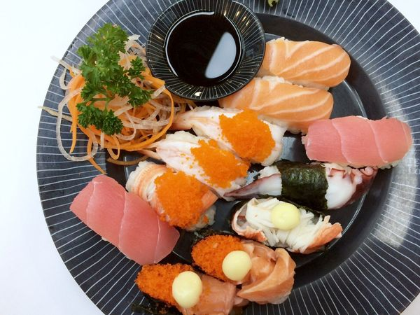 Sushi Food And Drink Food Freshness Healthy Eating Ready-to-eat Indoors  Still Life Japanese Food High Angle View Plate Asian Food Seafood Close-up Serving Size Directly Above Table Temptation