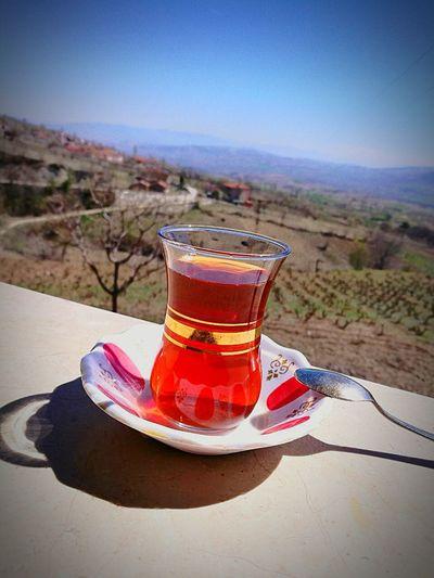 Tea Drink Drinking Glass View Village Outdoors Colorsofspring Sky Springtime Weekend Spring Colours Hayatakarken Hayatinrenkleri Nature_collection Beauty In Nature Caykeyfi