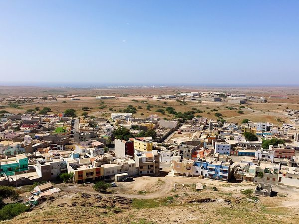 Overlooking Espargos Ilha Do Sal Sal Cape Verde with the town of Palmeira  on the Horizon Cityscapes Cabo Verde Horizon Over Land Houses City Town Capital Cities  Africa Landscape Landscape_photography Scenery