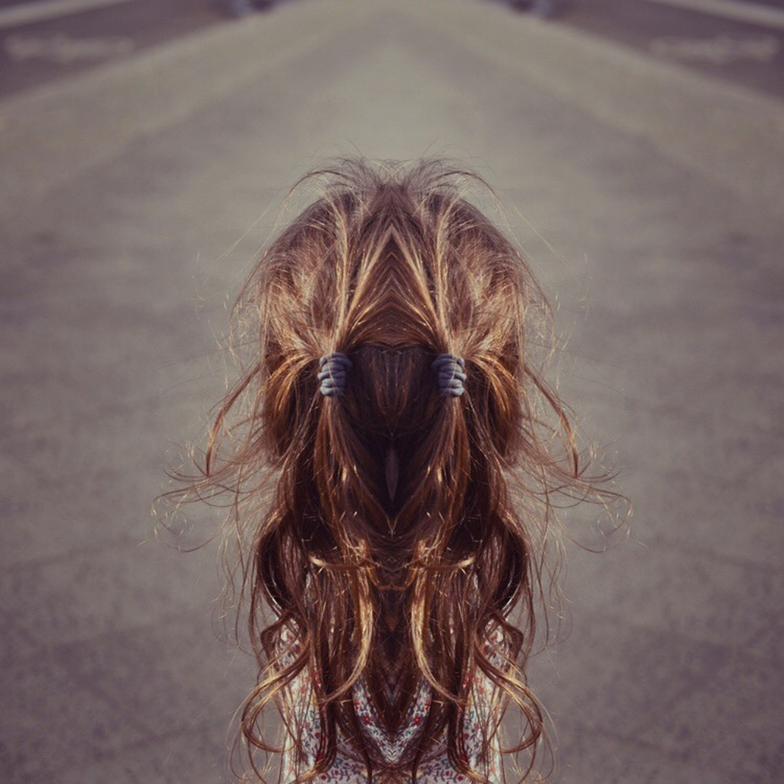 focus on foreground, close-up, long hair, headshot, lifestyles, blond hair, human hair, leisure activity, brown hair, person, animal hair, day, outdoors, rear view, selective focus, front view, young women, elementary age