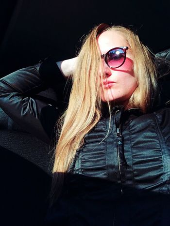 Self Portrait Portrait Female Iphonography Iphoneonly Face Sunglasses Sitting In The Car Black Jacket Sunbeam Relax Let Your Hair Down