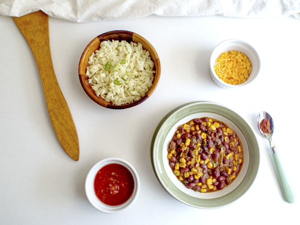 Appetizer Beans Beef Bowl Chili  Close-up Corn Food Food And Drink Freshness Healthy Eating Indoors  Indulgence Lunch Meal Overhead View Ready-to-eat Rice Serving Size Spoon Temptation