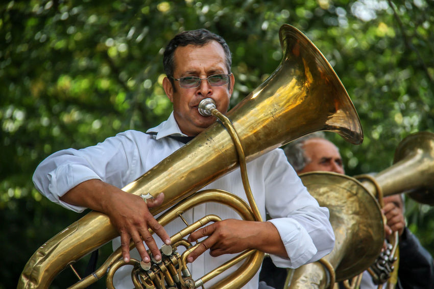 Arts Culture And Entertainment Country Fun Day Jazz Music Leisure Activity Mature Adult Mature Men Men Music Musical Instrument Musician One Person Outdoors People Performance Playing Real People Reportage Skill  Trumpet Trumpeter Wind Instrument