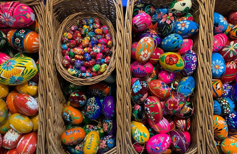 Full frame shot of colorful easter eggs for sale in market