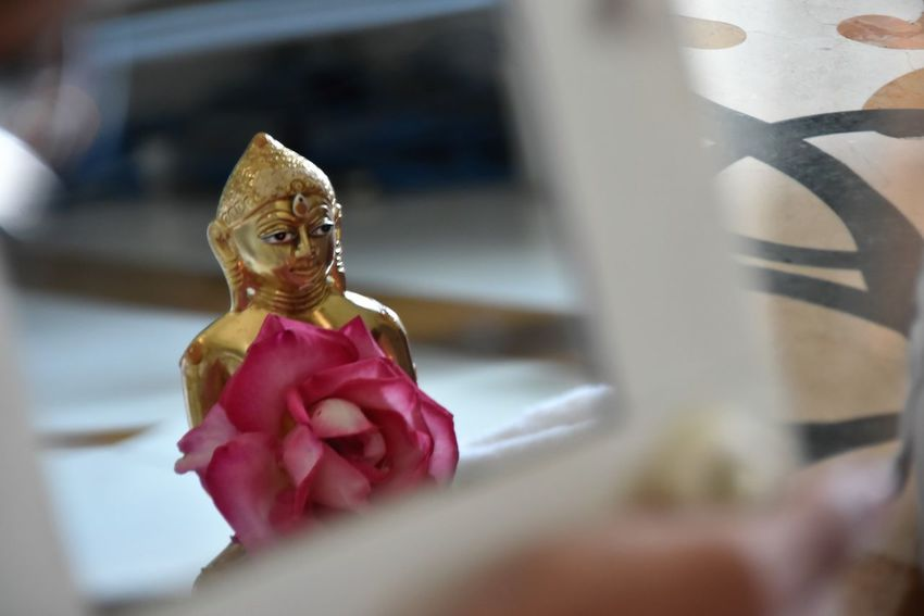 Close-up Day Flower Golden Statue Idol Indoors  Jain Religion Mahavira Mirror Reflection In Mirror Religion Religious  Religious Rituals. Spirituality Statue