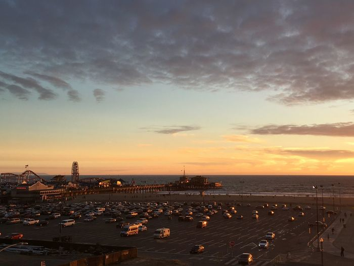 Parking Lot And Santa Monica Pier During Sunset