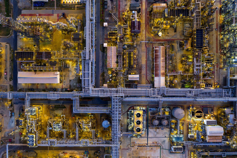 Aerial view of Oil refinery. Industry Factory Full Frame No People Fuel And Power Generation Technology Yellow Machinery Indoors  Backgrounds Metal Equipment Business Machine Part Complexity Industrial Equipment Transportation Day Connection Production Line