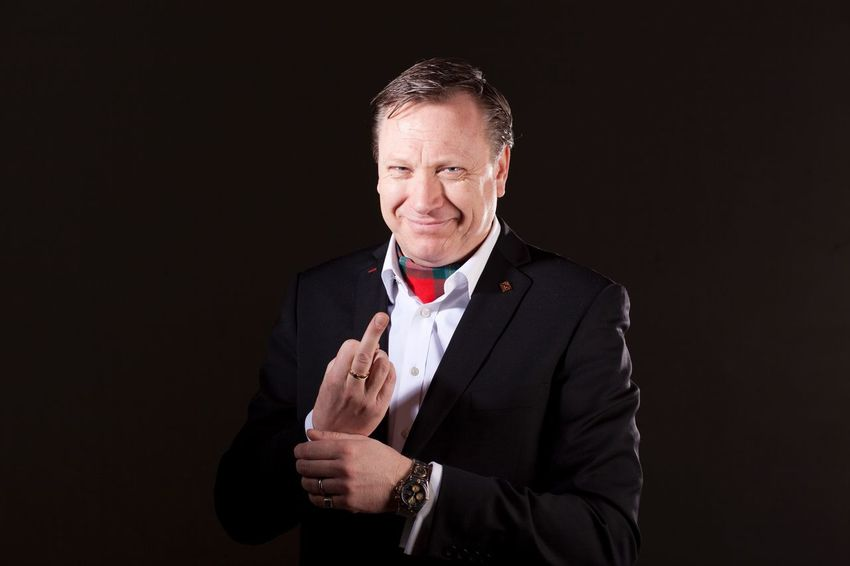 Standing One Man Only Studio Shot Mature Adult Businessman One Person Portrait Gesturing One Mature Man Only Suit Business Black Background Well-dressed Human Hand FuckYou Fuckoff Superior