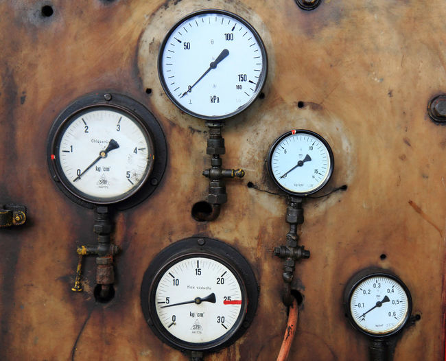 Close-up of pressure gauges on metallic wall