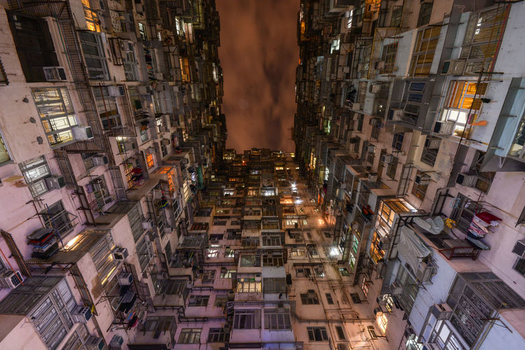 Hong Kong Night Architecture Building Exterior City Built Structure Building Residential District Illuminated Night No People Outdoors High Angle View Town Place Apartment Neighborhood Hong Kong Quarry Bay
