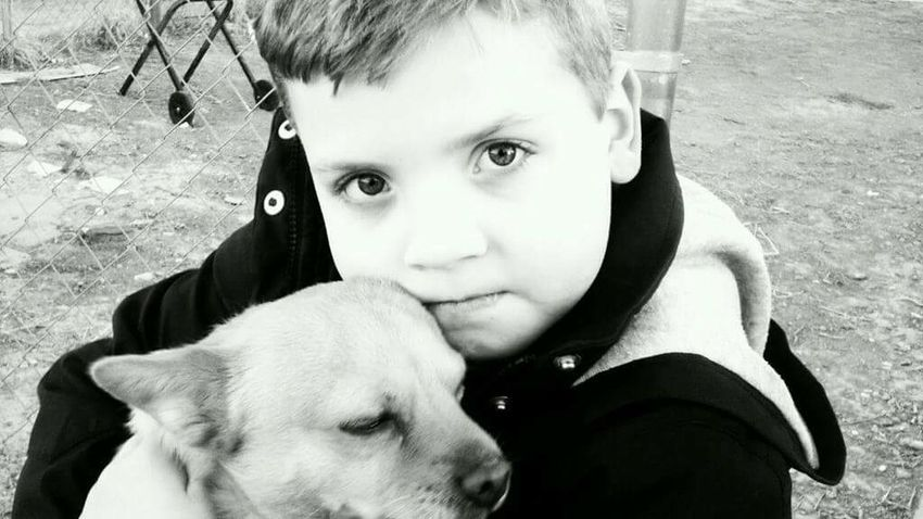 Through A Childs Eyes Love Of Animals Puppy Love Pets Dog Cute Innocence Child Outdoors Real People Portrait Childhood Black And White Sad Puppy Eyes