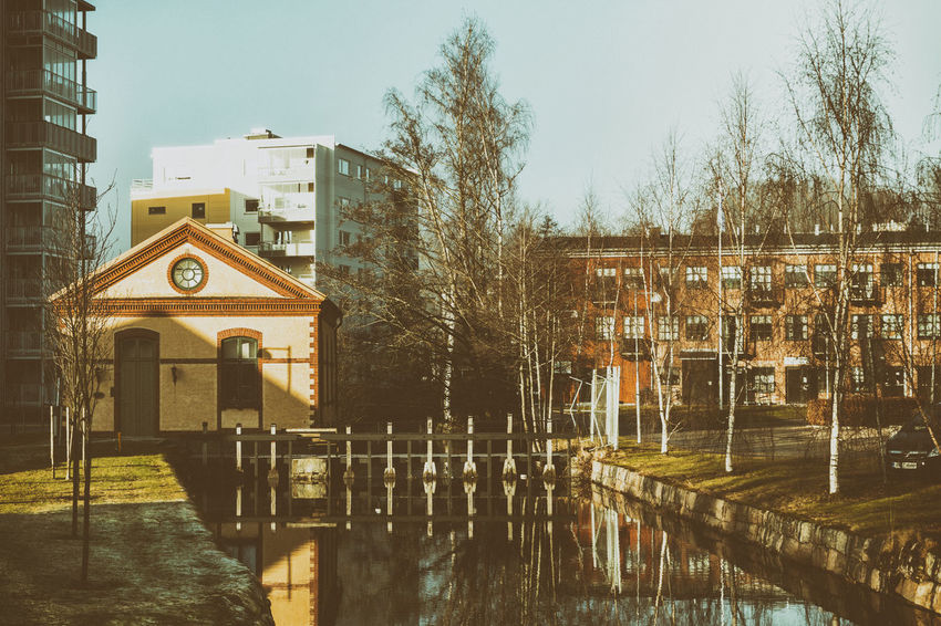 Adapted To The City Architecture Bare Trees Building Exterior Buildings Built Structure City Drastic Edit Exceptional Photographs EyeEm Best Edits EyeEmNewHere First Eyeem Photo Hello World Reflection Reflections Reflections In The Water Trees Waling Around Water