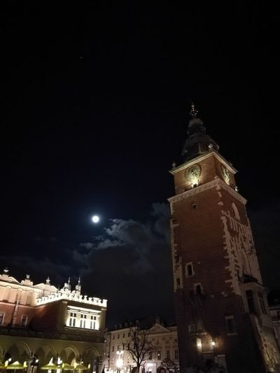 Kraków Night Illuminated History Clock Tower Cityscape No People Mainsquare Architecture No Filter Nightscape Rathausturm Krakow Poland Cracovia  Cracow By Night CracowCity Cracow Krakow Krakau Księżyc Moon Moonlight Sky And Clouds Sky Skyporn Clouds