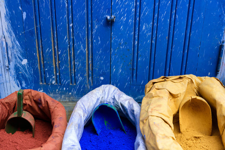 Vivid Colours Art Is Everywhere Blue Chefchaouen Colored Powder Coloured Powder Cultures Eye4photography  EyeEm Best Shots Ink Moroccan Morocco No People Pigment Pigments Powder Red Yellow Neon Life Mix Yourself A Good Time Paint The Town Yellow Crafted Beauty AI Now An Eye For Travel Summer Exploratorium