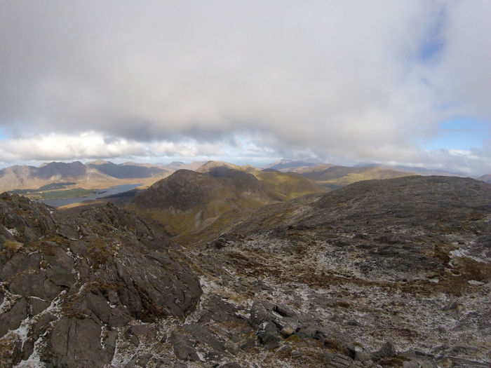 View from the summit of Barrslievenaroy / Binn Idir an Dá Log Beauty In Nature Being High Connemara Maamturks Maumturks Mountain Mountain Range Physical Geography Rocky Landscape