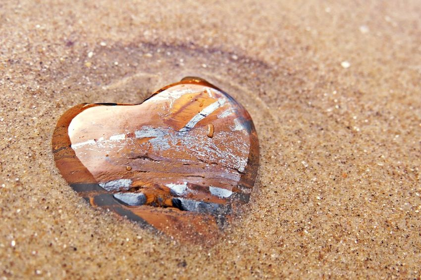 Beauty Is Everywhere  Love Abandoned Beach Beauty In Nature Close-up Day Heart Heart Shape Love ♥ Nature No People Outdoors Polished Surface Sand Semi Precious Stones Stone Tiger Eye Stone Water Waterfront