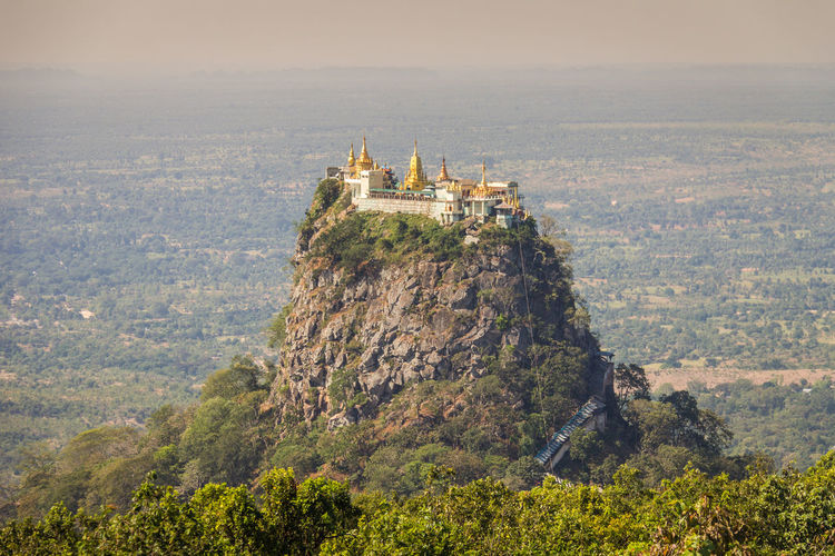 Mount Popa in Burma Popa Mount Popa Myanmar Burma Architecture Built Structure Building Exterior Nature High Angle View Tree Scenics - Nature Environment Building Mountain Plant No People Day Outdoors Land Landscape Travel Destinations History The Past Tower