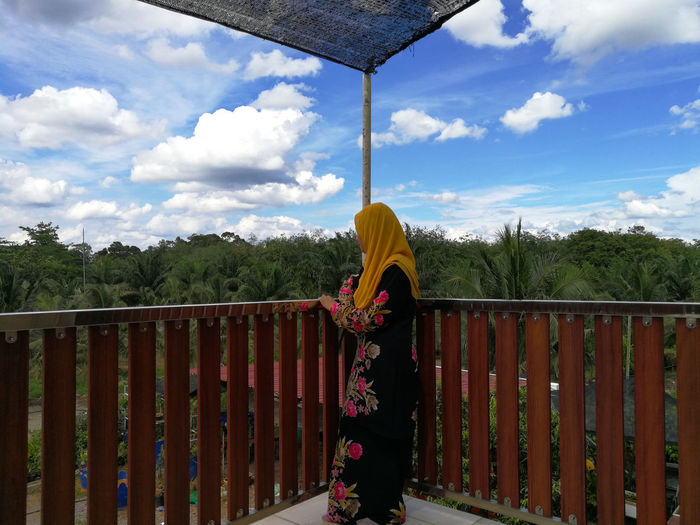 Village girl Malay Lady Blue Sky White Cloud Tranquility House Village