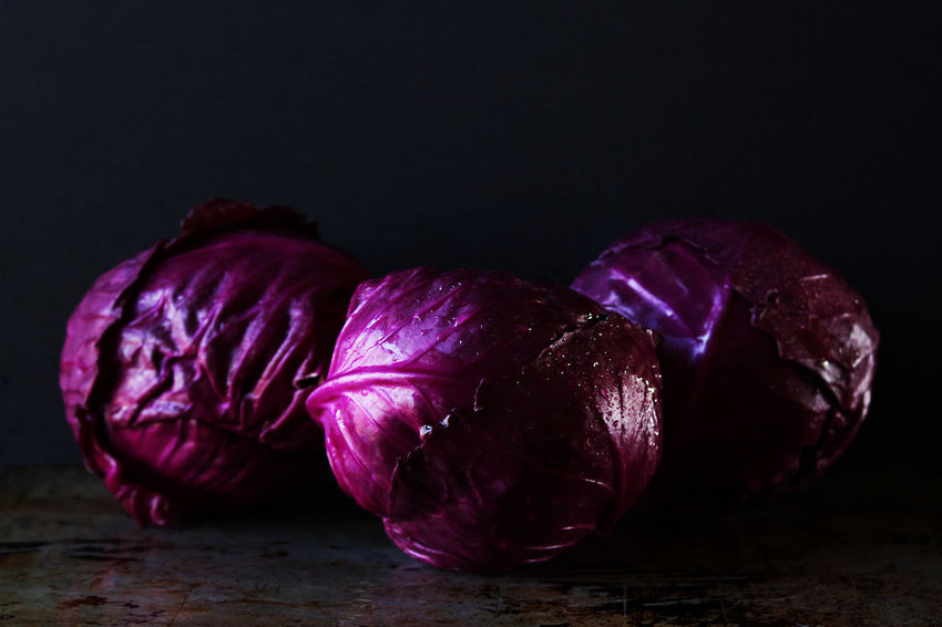 Red Cabbage Red Cabbage Vegetable Purple Freshness Head Of Cabbage Wet Water Clean Washed Dark Rustic Food Raw Textured  Close Up Copy Space Beautiful Natural Light Still Life Studio Shot