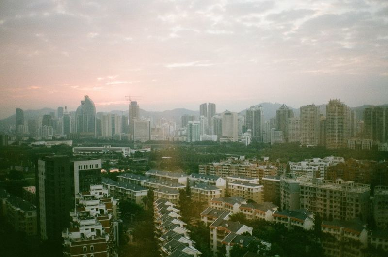 China Nature Outdoors City Building Exterior Architecture Sunrise, Sky Cityscape Cloud - Sky High Angle View Urban Skyline Landscape