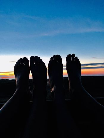 Loving life sky low section human leg real people barefoot Silhouette Of Feet Sillouette Sky Low Section Human Leg Real People Lifestyles Human Body Part Silhouette