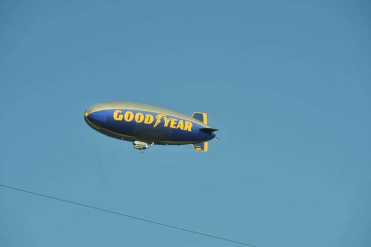 Aerospace Industry Air Vehicle Blimp In The Sky Blue Clear Sky Day Dirigible Flying No People Outdoors Sky