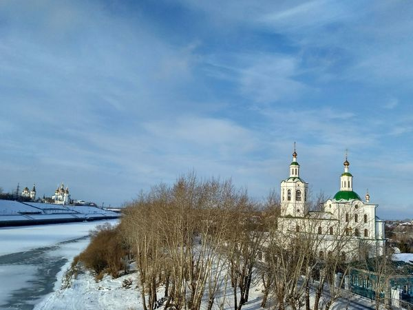 Winter Cold Temperature Outdoors Snow No People Sky Day Nature Building Exterior Architecture Trees Frozen River Built Structure Religious Buildings Церковь храм храмы РоссииGolden Domes Church Dome Trees And Sky Cloud - Sky Religious Architecture Ortodox Church Church Architecture Landscape