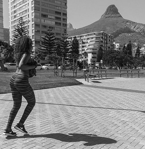 Beachfront Blackandwhite Candid Fitness Full Length Leisure Activity Lionshead Rear View Running Streetphotography Woman