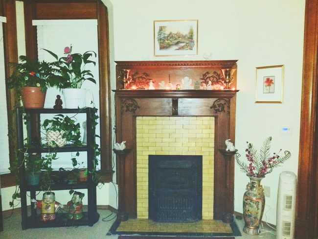 Home Is Where The Art Is,beautiful wood interior, home,fireplace,mantel,interior decorating, angels,plants,green thumb, decor gold vase, hagar vase set, lighted mantelpiece