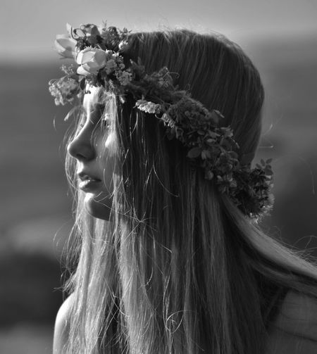 Close-Up Of Woman Wearing Flower Headband