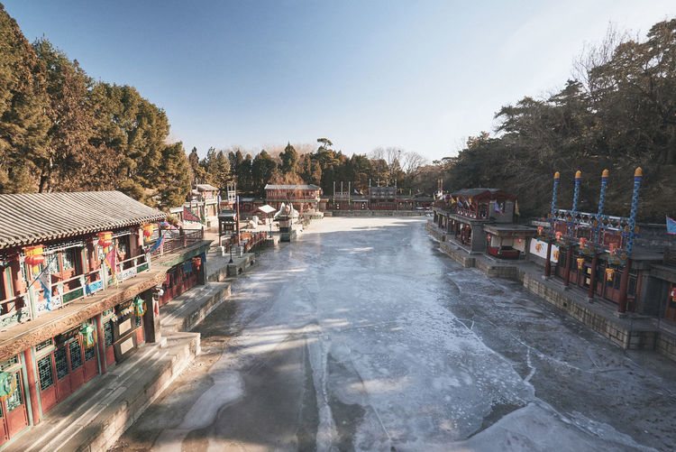 Summer Palace China Winter Morning Tree Architecture Water Nature Plant Sky City Day Motion Built Structure No People Building Exterior Outdoors Transportation Travel Destinations Building Blurred Motion Frozen River Ice