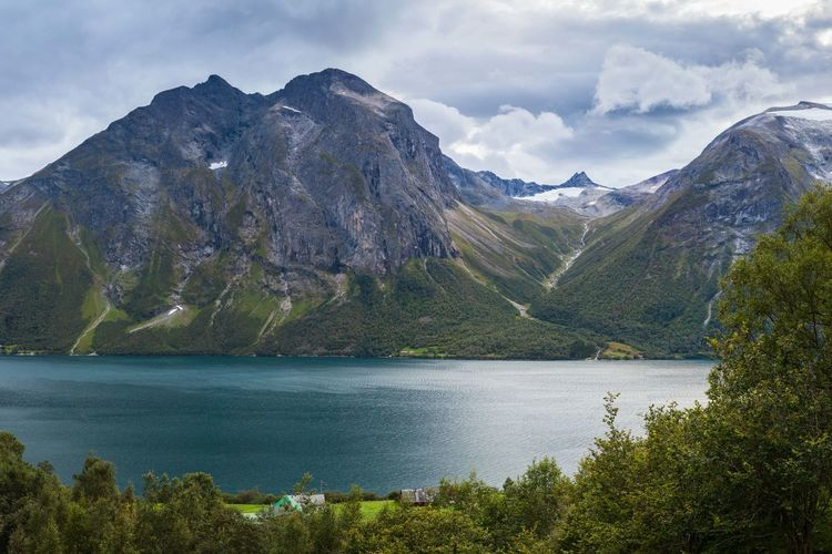 Autumn Beauty In Nature Clouds Cold Temperature Dramatic Sky EyeEm Nature Lover Fall Geology High Resolution Lake Landscape Majestic Mountain Range Mountains Norway Power In Nature Panorama Landscapes With WhiteWall Eikesdalsvatnet