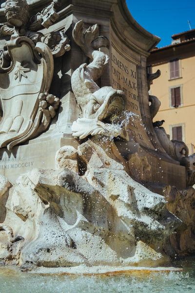 A closeup of the Fontana del Pantheon on the Piazza della Rotonda in Rome, Italy. Architecture Fontana Del Pantheon Fountain Italy Piazza Della Rotonda Rome Sculpture Statue