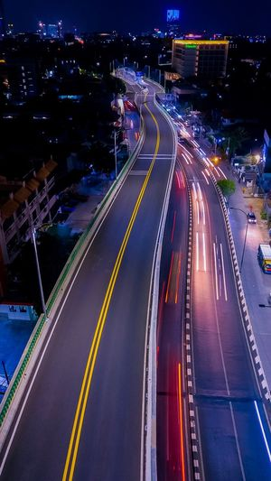 Kebayoran Lama Flyover in Night Road City Transportation Illuminated Street Architecture Night Long Exposure Mode Of Transportation City Street Direction Light Trail Motion Highway Traffic City Life High Angle View Cityscape Built Structure Building Exterior EyeEmNewHere
