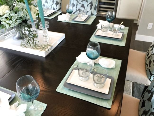 dining table set up plates Dining room table dining table show interior residential interior house home modern