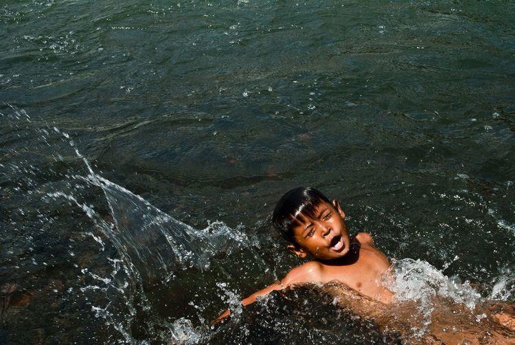Portrait of woman in water