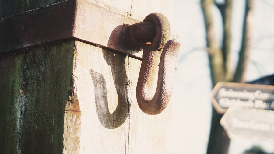 Close-Up Of Metal Hook On Wall