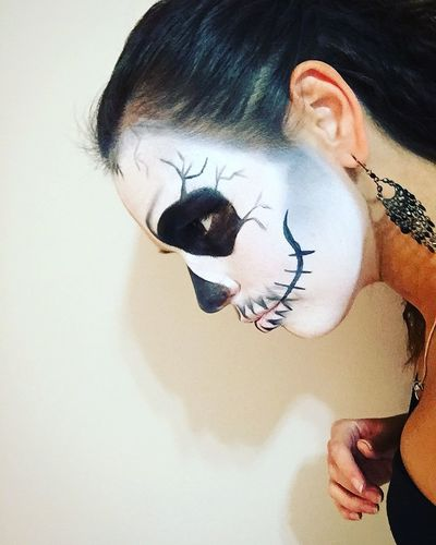 Creativity Drawing - Art Product Face Halloween Human Body Part Leisure Activity Lifestyles Make Up Mask One Person People Real People White Background Young Adult