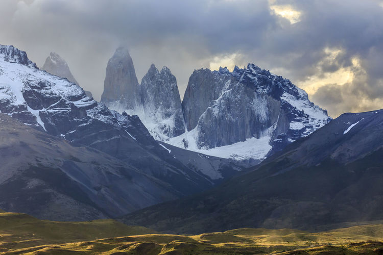 Fitz Roy from Chile with dramatic clouds and snowcapped mountains. Mountain Sky Beauty In Nature Scenics - Nature Mountain Range Environment Cloud - Sky Landscape Snow Tranquil Scene Cold Temperature Tranquility Nature Winter No People Snowcapped Mountain Non-urban Scene Mountain Peak Day Formation Dramatic Sky Dramatic Landscape Torres Del Paine Chile