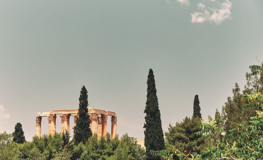 Summer Sightseeing Art Marble Horizontal Vacation Color Cityscape Athens View Roof Hellenic Europe Temple Travel Background Civilization Ruins History Zeus Famous Building Green Grass Capital Monument Construction Old Greece Landmark Olympian Architecture Column Archeology Blue Stone Lights Ancient Classical Morning Greek City White Important Tourism Sky Classic Spring Colonnade Antique