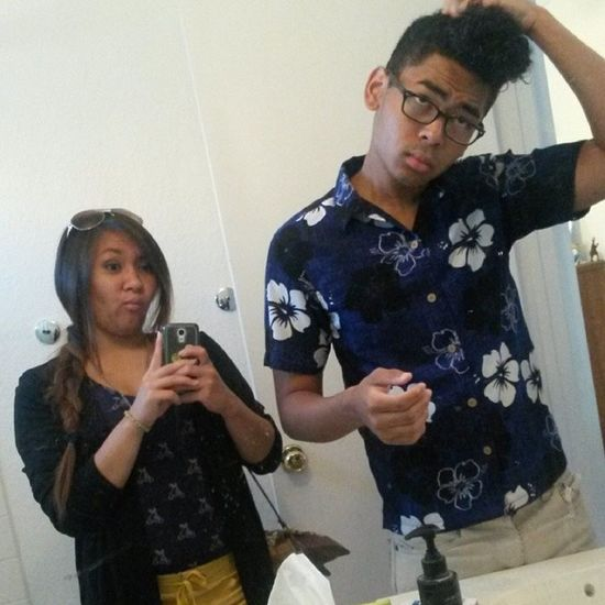 The bro and me matching for church?! ???? just to let all you know...I woke up first smh Awkward Kindafunny Greathairday Greatmindsthinkalike  lilbro