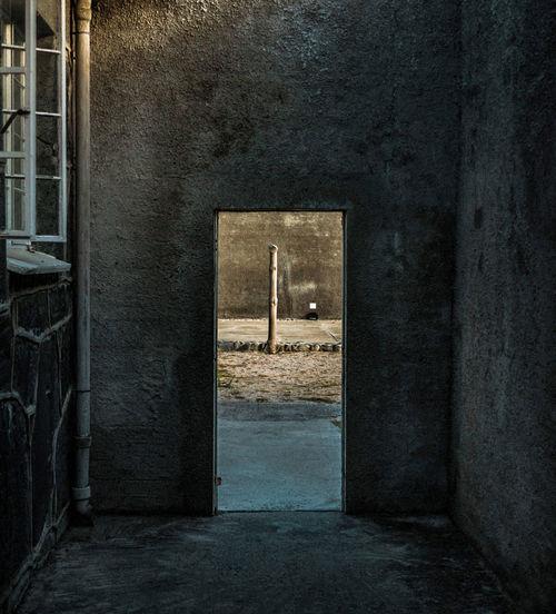 Open door in old building